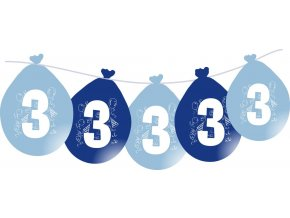 Balónky narozeninové VISÍCÍ 5 ks - modré - číslo 3