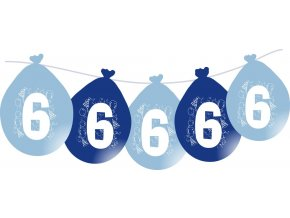 Balónky narozeninové VISÍCÍ 5 ks - modré - číslo 6