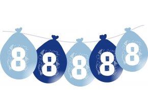 Balónky narozeninové VISÍCÍ 5 ks - modré - číslo 8