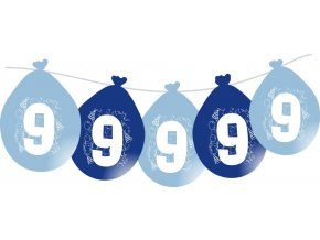 Balónky narozeninové VISÍCÍ 5 ks - modré - číslo 9