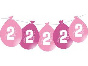 Balónky narozeninové VISÍCÍ 5 ks - růžové - číslo 2
