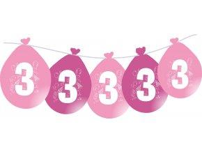 Balónky narozeninové VISÍCÍ 5 ks - růžové - číslo 3