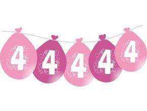 Balónky narozeninové VISÍCÍ 5 ks - růžové - číslo 4