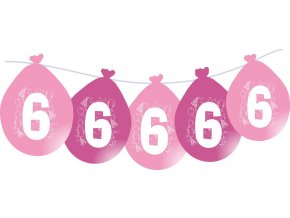 Balónky narozeninové VISÍCÍ 5 ks - růžové - číslo 6