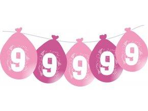 Balónky narozeninové VISÍCÍ 5 ks - růžové - číslo 9