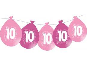 Balónky narozeninové VISÍCÍ 5 ks - růžové - číslo 10