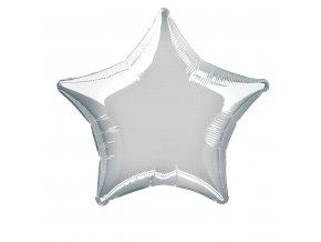 Balónek fóliový velký - hvězda metalická stříbrná