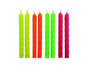 Dortové svíčky PME 24 ks - neon