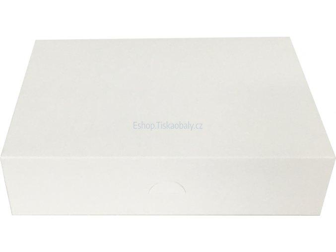 Krabice na zákusky bílá, skládaná, lepená, 250x210x70 mm