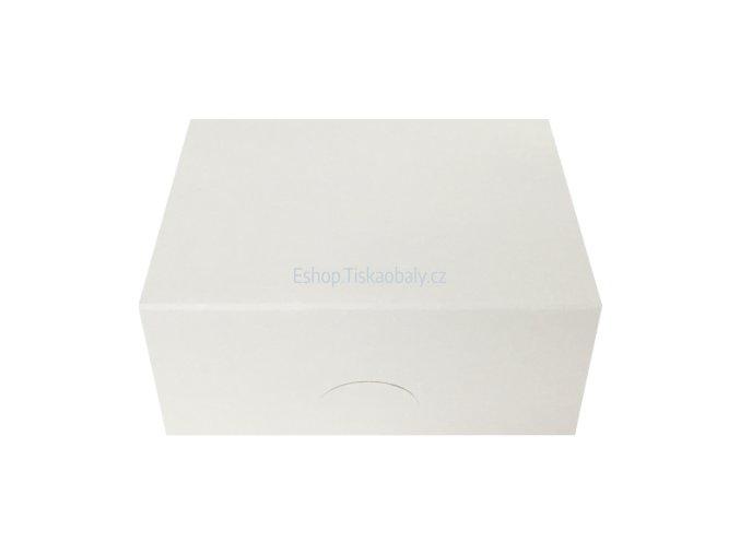 Krabice na zákusky bílá, skládaná, lepená, 250x180x100 mm