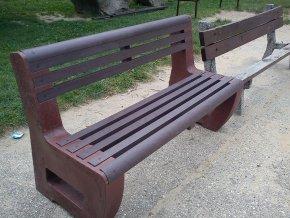 02 a. L-bench masívna jednofarebná lavička s opierkou