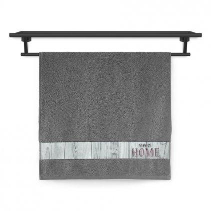 Ručník Veba NORA Sweet home tisk tmavě šedá