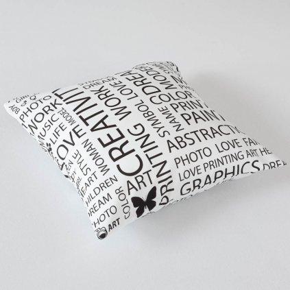 Povlak na polštář Veba GEON Písmo bíločerná