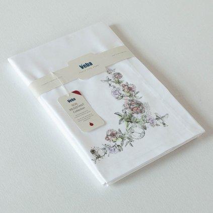 Ubrus Veba GARBO Roses obálkový lem bílá s nešpinivou úpravou