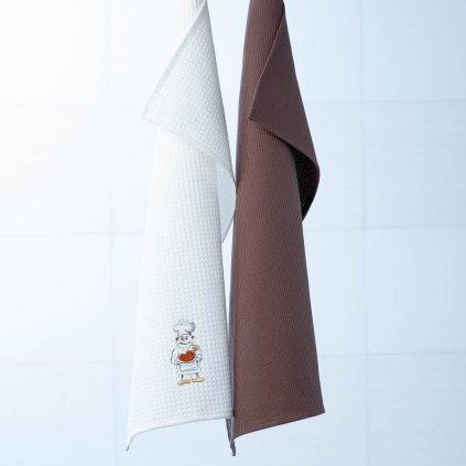 Vaflové utěrky Veba RUMBA s výšivkou Kuchař s pečínkou II bílá