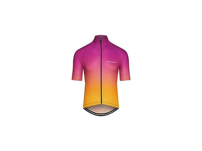 CAFÉ DU CYCLISTE - pánský cyklistický dres - cyklodres FLEURETTE Shaded fialovo žlutá