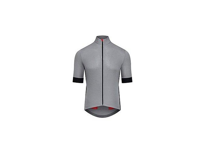 CAFÉ DU CYCLISTE - pánské cyklistické dresy - dres na kolo Merino EGLANTINE světle šedá