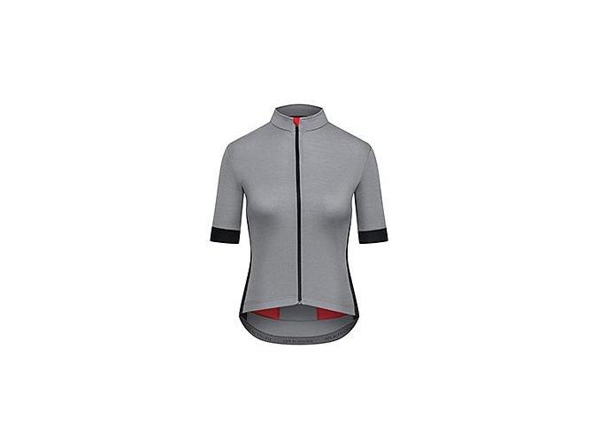 CAFÉ DU CYCLISTE - dámské cyklistické dresy - dres na kolo Merino WOMEN'S EGLANTINE světle šedá