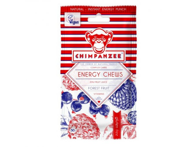 Energetické gely a bonbony - energetický bonbon CHIMPANZEE ENERGY CHEWS Forest Fruit 30g