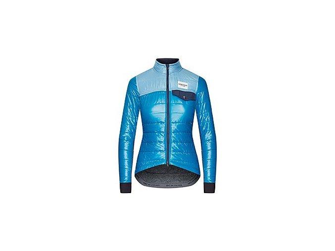 CAFÉ DU CYCLISTE - dámské cyklisktické bundy - zimní cyklo bunda na kolo Merino WOMEN'S ALBERTINE modrá