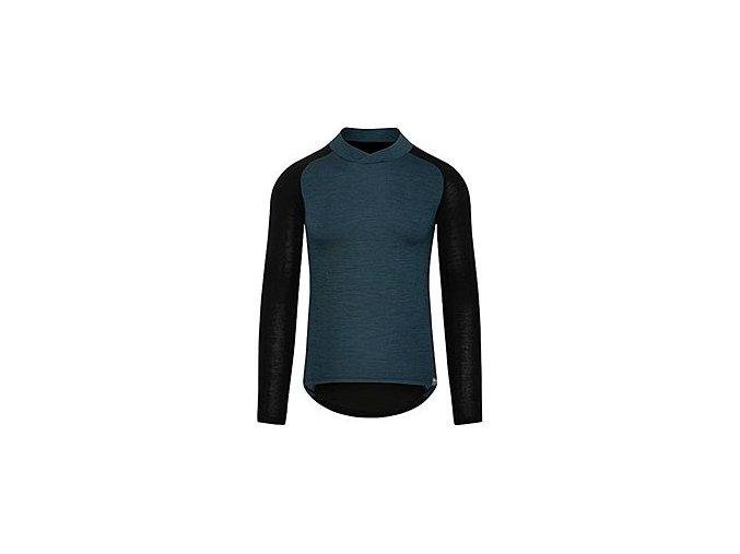 CAFÉ DU CYCLISTE - pánská cyklistická trika - funkční cyklo tričko s dlouhým rukávem COSETTE modro-černá