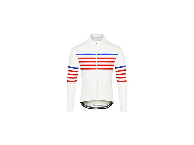 CAFÉ DU CYCLISTE - pánské cyklistické dresy - cyklodres s dlouhým rukávem Merino CLAUDETTE Charlie bílá