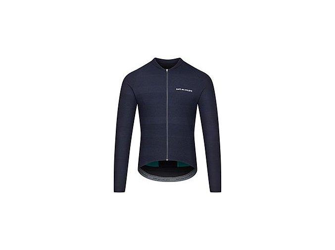 CAFÉ DU CYCLISTE - pánské cyklistické dresy - cyklodres s dlouhým rukávem CORINNE námořní modrá