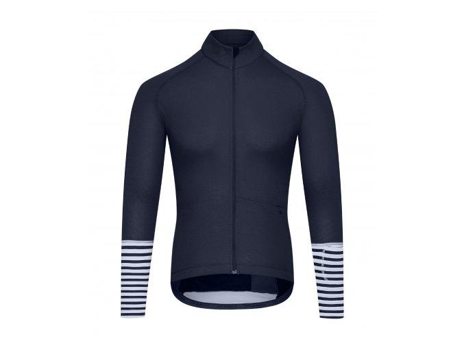 CAFÉ DU CYCLISTE - pánský cyklistický dres - cyklodres merino s dlouhým rukávem ARLETTE námořní modrá