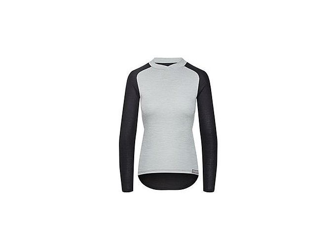 CAFÉ DU CYCLISTE - dámská cyklistická trika - triko pro ženy Merino COSETTE šedo-černá