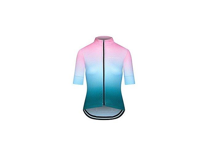 Dámský cyklodres - FLEURETTE stínovaná růžově modrá
