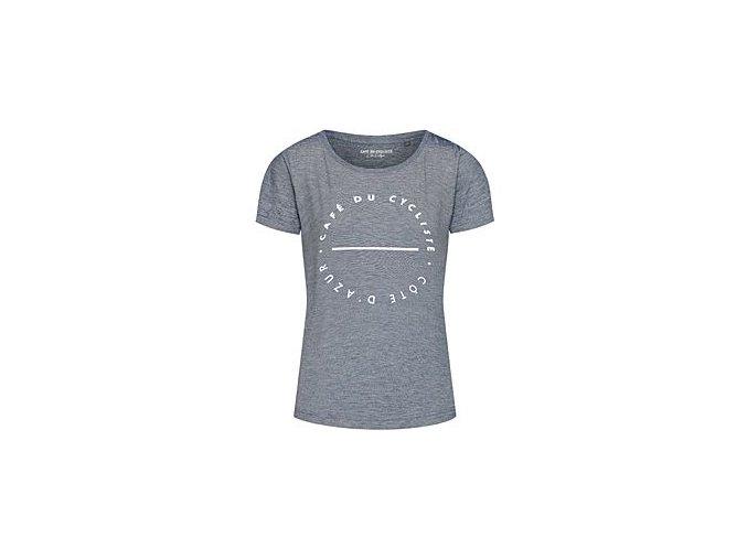 Tričko dámské s bílým nápisem CAFÉ DU CYCLISTE - námořní modrá