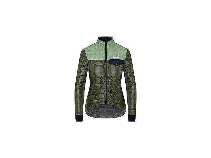 Dámská zimní cyklo bunda na kolo Merino ALBERTINE zelená Café du Cyclistewomen cycling jacket albertine green duotone[1]