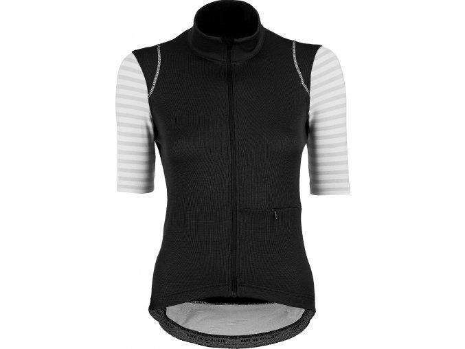 CAFÉ DU CYCLISTE dámský cyklistický dres - cyklodres merino MONIQUE černá