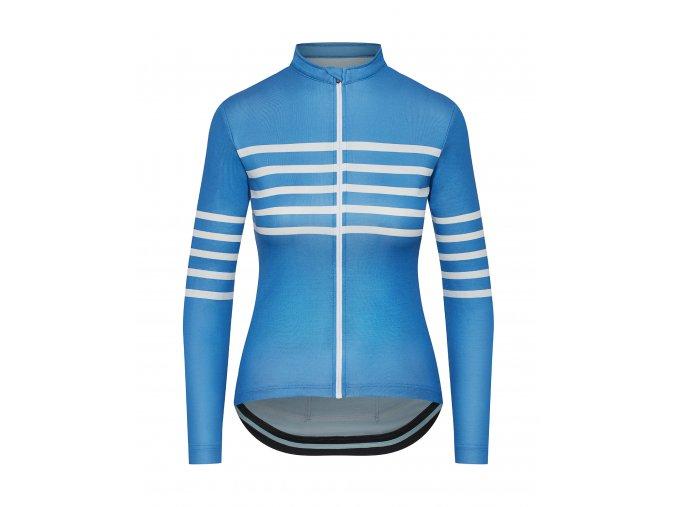 CAFÉ DU CYCLISTE Dámdký cyklistický dres - cyklodres s dlouhým rukávem merino WOMEN'S CLAUDETTE modrá