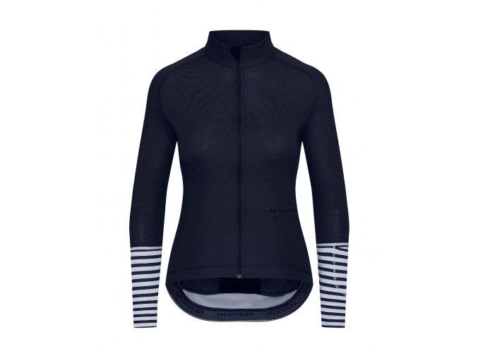 CAFÉ DU CYCLISTE - dámské cyklistické dresy - cyklodres s dlouhým rukávem Merino WOMEN'S ARLETTE Audax námořní modrá