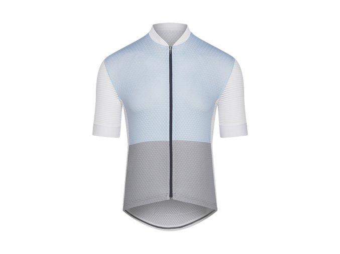 CAFÉ DU CYCLISTE - pánský cyklistický dres - cyklodres MICHELINE světle modrá a šedá