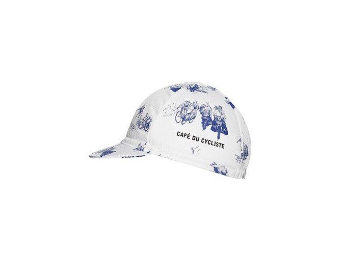 Cyklistická čepice - série GRAVURE - bílá a modrá