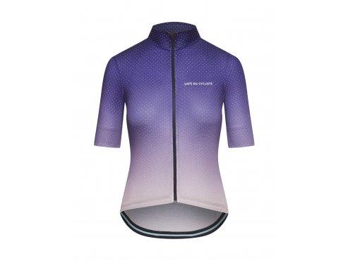 CAFÉ DU CYCLISTE - dámské cyklistické dresy - cyklodres FLEURETTE stínovaná fialová
