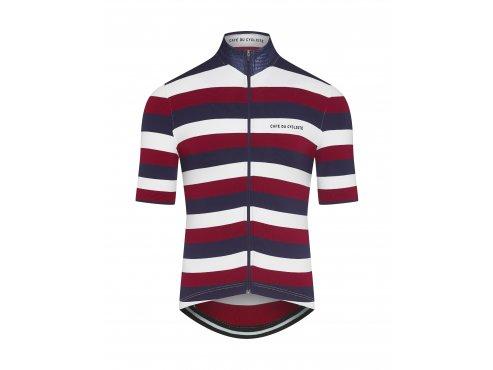 CAFÉ DU CYCLISTE - pánský cyklistický dres - cyklodres FRANCINE námořní modrá a červená
