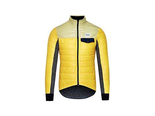 CAFÉ DU CYCLISTE - pánské cyklistické bundy - zimní cyklo bunda na kolo Merino ALBERTINE žlutá