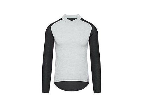 CAFÉ DU CYCLISTE - pánská cyklistická trika - funkční cyklo tričko s dlouhým rukávem COSETTE šedo-černá