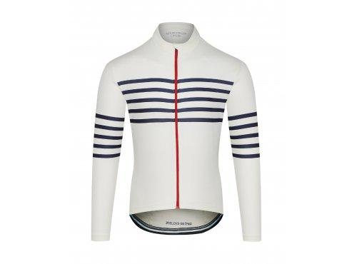 CAFÉ DU CYCLISTE - pánské cyklistické dresy - cyklodres s dlouhým rukávem Merino CLAUDETTE bílá
