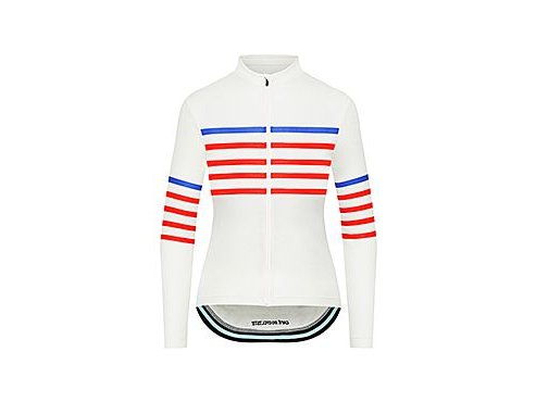 CAFÉ DU CYCLISTE - dámské cyklistické dresy - cyklodres s dlouhým rukávem Merino WOMEN'S CLAUDETTE Charlie bílá