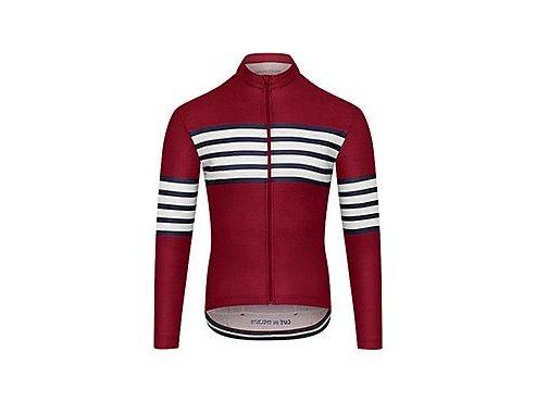 CAFÉ DU CYCLISTE - pánské cyklistické dresy - cyklodres s dlouhým rukávem Merino CLAUDETTE červená