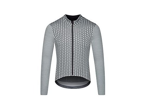 CAFÉ DU CYCLISTE - pánské cyklistické dresy - cyklodres s dlouhým rukávem Merino AUDAX IRMA šedo - stříbrná