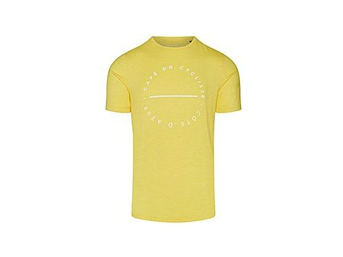 Tričko s bílým nápisem CAFÉ DU CYCLISTE žlutá
