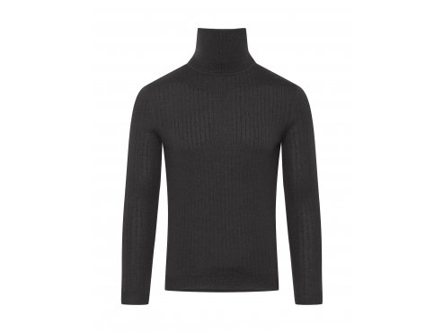 Café du Cycliste SS19 Men Merino Ribbed Polar Neck Nicole Black Packshoot Front