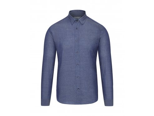 Cafe du cycliste SS19 Men City Merino and Cotton Chambray Shirt Armelle BLUE Packshot Front