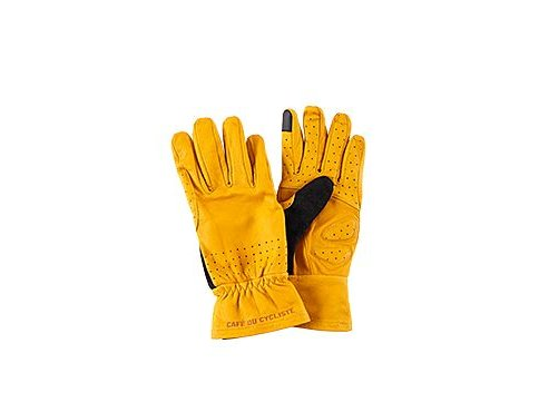 Rukavice na kolo kožené - série GRAVEL - hořčicemen women gloves cycling leather yellow[1]