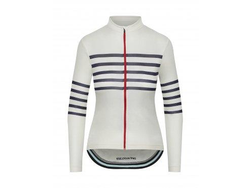 CAFÉ DU CYCLISTE Dámský cyklistický dres - cyklodres s dlouhým rukávem merino WOMEN'S CLAUDETTE bílá